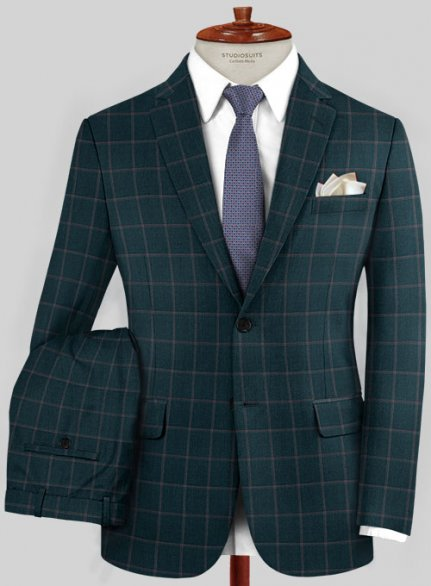 Scabal Mosaic Toluin Green Wool Suit