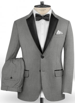 Worsted Mid Charcoal Wool Tuxedo Suit