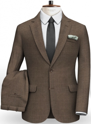 Napolean Brown Sharkskin Wool Suit