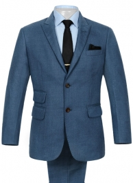 Heavy Blue Flannel Wool Suit