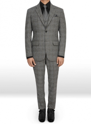 Vintage Sports Checks Gray Tweed Suit