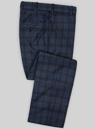 Scabal Mosaic Inzo Blue Wool Pants