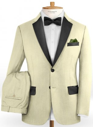 Worsted Light Khaki Wool Tuxedo Suit