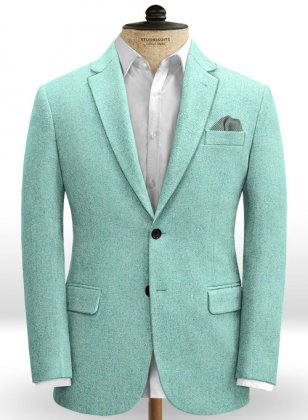 Melange Aqua Blue Tweed Jacket