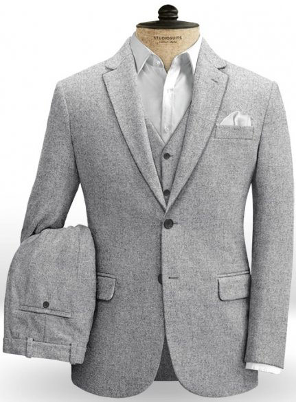 Vintage Plain Gray Tweed Suit - Ready Size