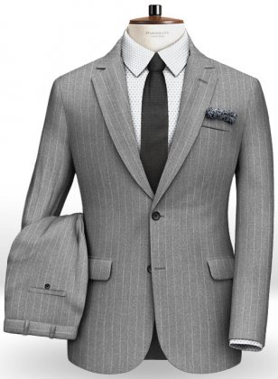 Gray Stripe Flannel Wool Suit- Ready Size
