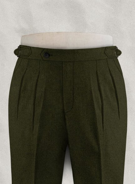 Light Weight Dark Green Highland Tweed Trousers