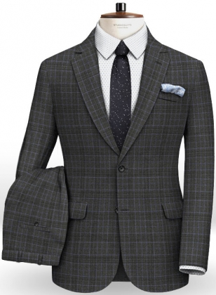 Italian Ritz Checks Angora Wool Suit