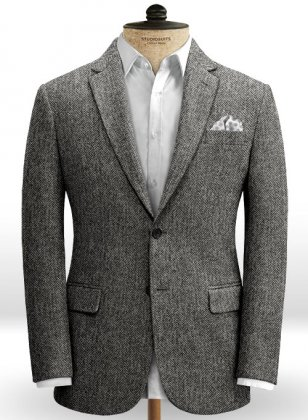 Harris Tweed Gray Herringbone Jacket