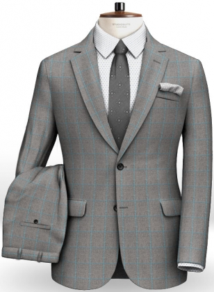 Gray Blue Windowpane Flannel Wool Suit