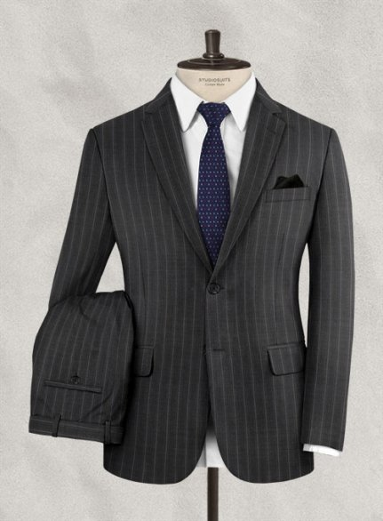 Scabal Carna Gray Stripes Wool Suit