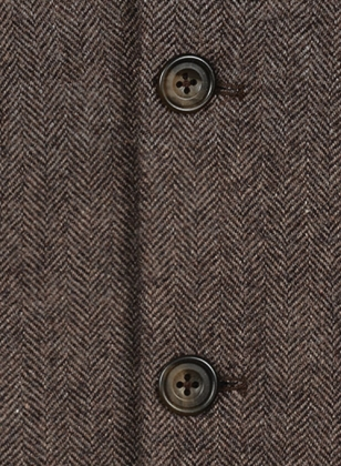 Vintage Dark Brown Herringbone Tweed Suit - Leather Trims