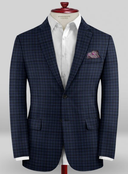 Scabal Mosaic Socca Blue Wool Jacket