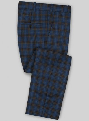 Scabal Mosaic Mipro Blue Wool Pants