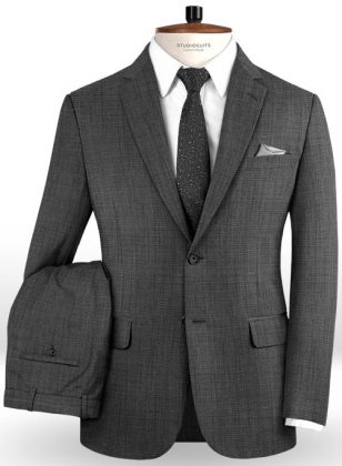 Napolean Dark Gray Pinhead Wool Suit