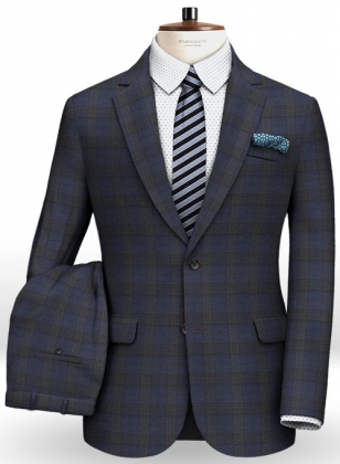 Napolean Tartan Prussian Blue Wool Suit