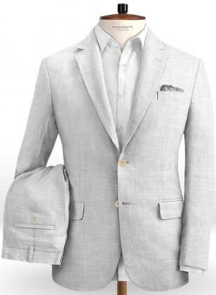 Italian Zod Light Gray Linen Suit