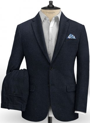 Deep Blue Herringbone Tweed Suit