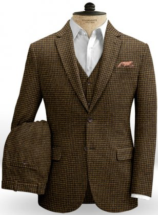 Houndstooth Tan Tweed Suit