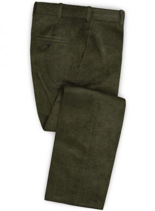 Olive Thick Corduroy Pants