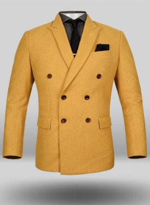 Naples Yellow Tweed Double Breasted Jacket