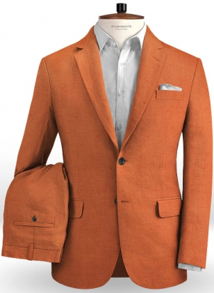 Safari Tan Cotton Linen Suit