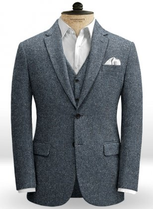 Arc Blue Herringbone Flecks Donegal Tweed Jacket