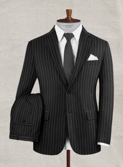 Zegna Delice Black Stripe Wool Suit
