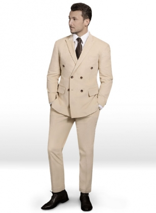 Stretch Light Beige Corduroy Suit