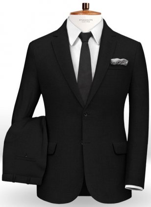 Napolean Black Wool Suit