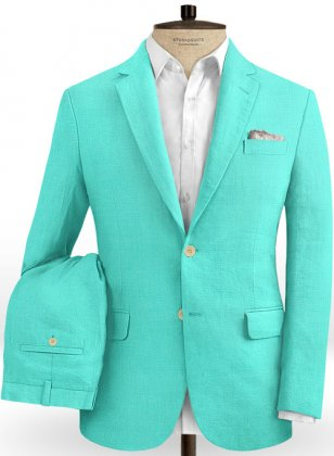 Safari Teal Blue Cotton Linen Suit
