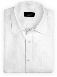Herringbone White Cotton Shirt - Full Sleeves