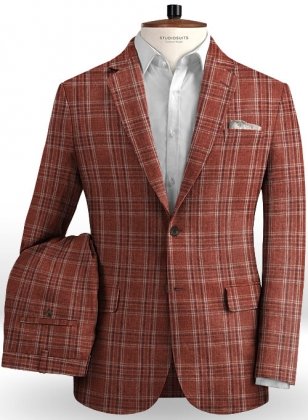 Solbiati Wine Square Linen Suit
