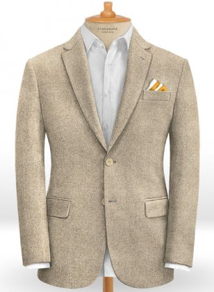 Vintage Herringbone Light Beige Tweed Jacket