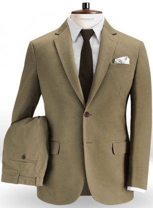 Hunter Khaki Peach Finish Chino Suit
