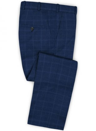 Pisa Blue Feather Tweed Pants