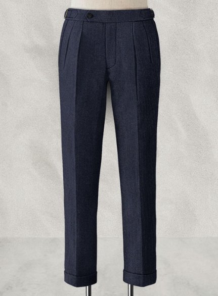 Rope Weave Blue Highland Tweed Trousers
