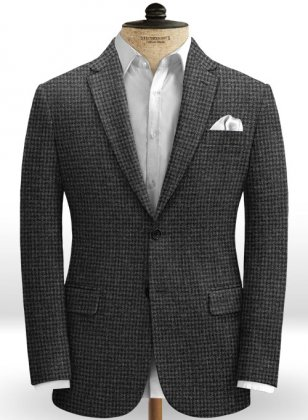 Gray Houndstooth Tweed Jacket