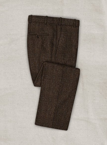 Harris Tweed Dark Brown Herringbone Pants