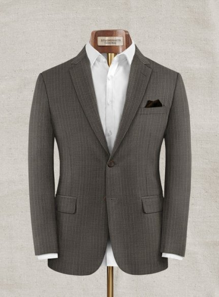 Zegna Variel Brown Stripe Wool Jacket