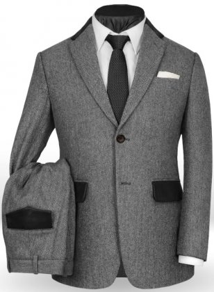 Vintage Herringbone Gray Tweed Suit - Leather Trims