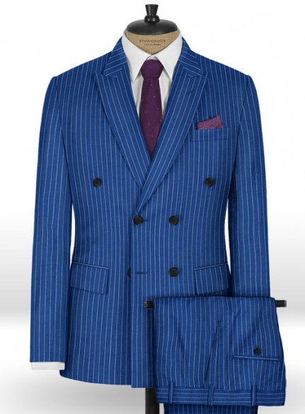 Napolean Stripo Royal Blue Wool Suit