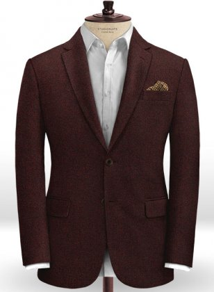 Light Weight Melange Wine Tweed Jacket