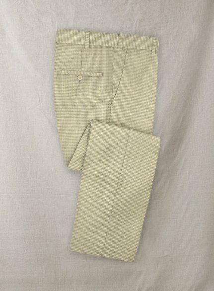 Stretch Checkers Beige Wool Pants