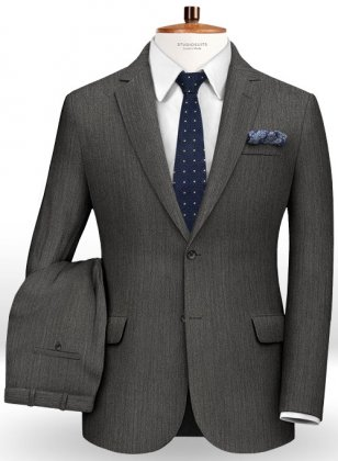 Herringbone Wool Gray Suit