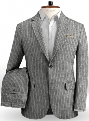 Solbiati Gray Stripes Linen Suit