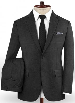 Scabal Worsted Charcoal Wool Suit