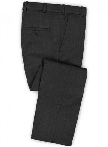 Herringbone Wool Charcoal Pants - Pre Set Sizes - Quick Order