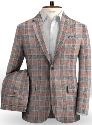 Solbiati Wine Checks Linen Suit