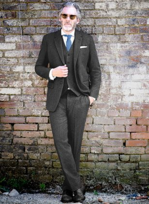 Charcoal Herringbone Tweed Suit